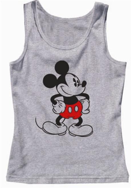 Disney Women Pajama Tank Top Old School Mickey, Grey Heather