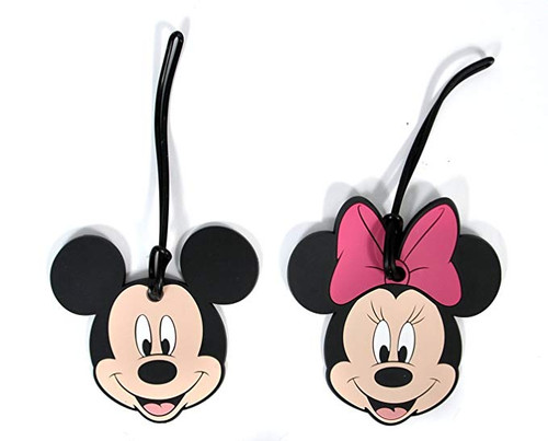 2 Pack Disney Luggage Suitcase Tags Mickey & Minnie Mouse Faces PVC