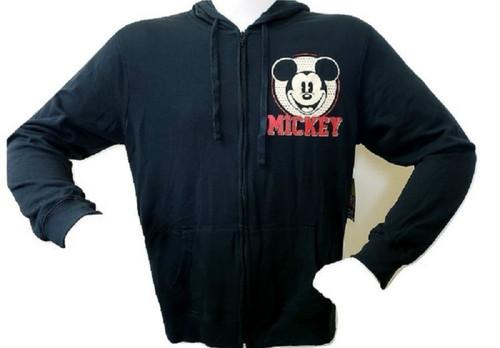 Disney Adult Mickey 1928 Original Zip Up Hoodie, Black