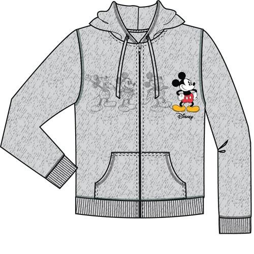 Disney Adult Mickey Plus One Zip Up Hoodie, Gray