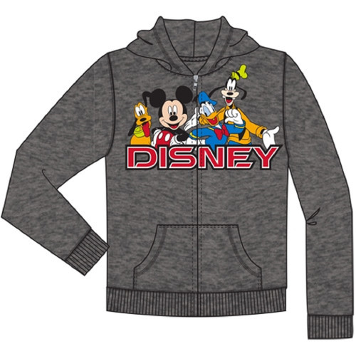 Youth Disney Friends Mickey, Goofy, Pluto, Donald Zip Up Hoodie, Charcoal Gray