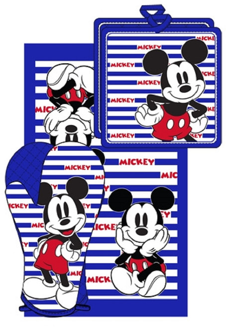 Disney Mickey Mouse Stripes 3pc Kitchen Towel Set, Blue & White