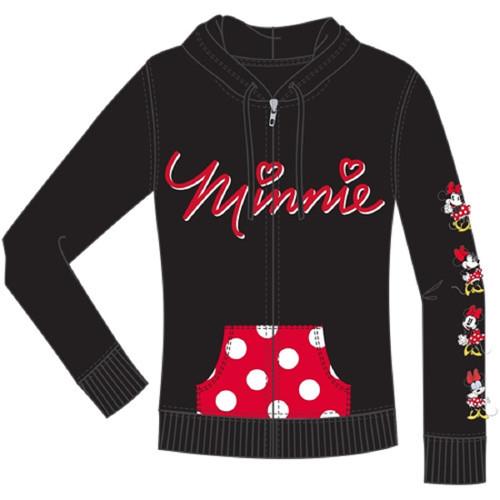 Disney Junior Minnie Emotions Zip Up Hoodie, Black Red