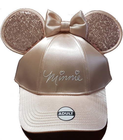 """Authentic & Officially Licensed by Disney Curved bill Baseball hat for adults - one size fits most Adjustable Snap-back strap Blue and  Red color with cursive """"Minnie"""" 100% cotton"""