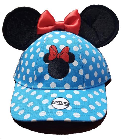 Disney  Adult Vintage Minnie Polka Dots Ear Hat, Blue Red
