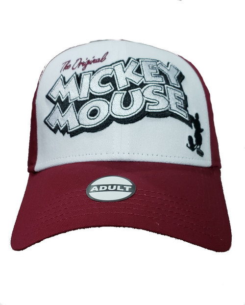 100% Cotton Imported Adult Vintage Mickey Mouse Baseball Hat, Red White High quality design, Adjustable adult size Officially Licensed Disney Product Featuring Mickey Mouse Great for yourself or as a gift