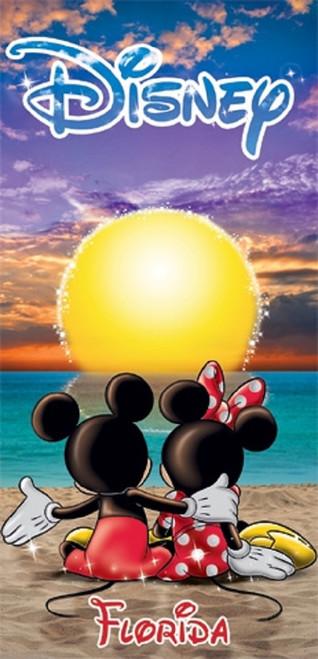 Disney Mickey Mouse Minnie Sunset Florida Beach Towel 28x58 Spring Summer