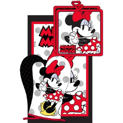 Disney 3pc Kitchen Towel Set Cute Chef Minnie Red
