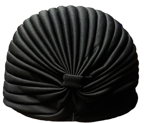 Twisted Pleated Stretchable Turban Women Cap, Black