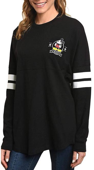 Disney Women's Mickey Mouse Long Sleeve Jersey, Black