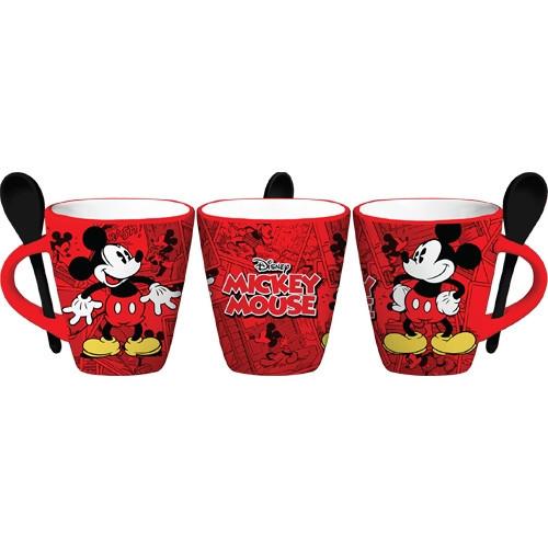 Disney Mickey Funnies Cartoon 11oz Mug w/Spoon, Red