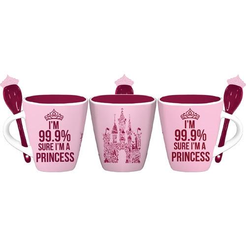 99% Sure I'm a Princess with castle 11oz Mug w/Spoon, Pink