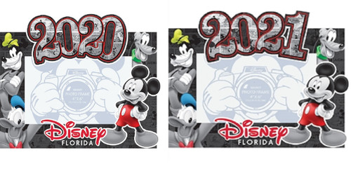 Disney 4x6 Picture Frame 2020 and 2021 Comic Four Goofy, Donald, Pluto Mickey)