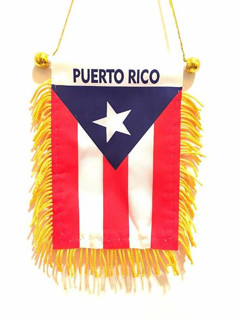 Puerto Rico Pequeño 4 X 6 pulgadas Mini Bandera Bandera Espejo retrovisor Boricua Puerto Rico Bandera con flecos Ventana colgante