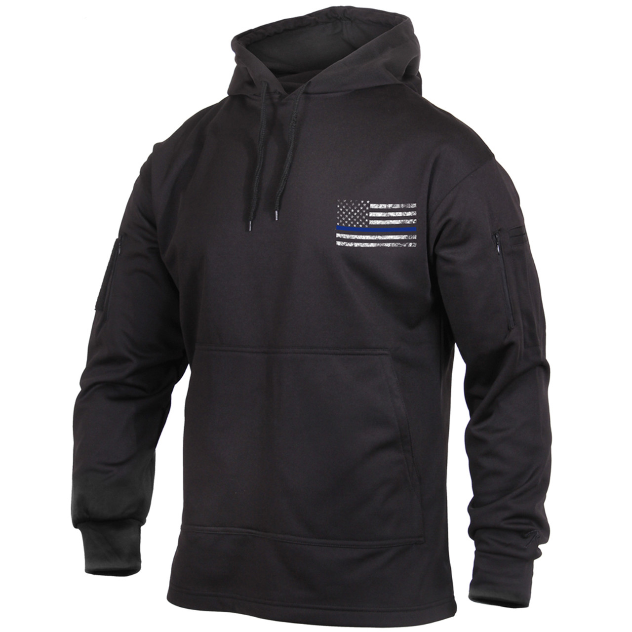 9ed3323a6f8 Thin Blue Line Concealed Carry Black Sweatshirt with Flag - Atlantic  Tactical Inc