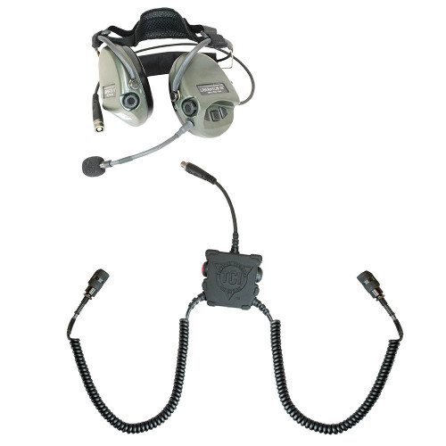 TCI Liberator III Lite Dual Comm Headset - (2) PRC Radio Cables/ Carry Case