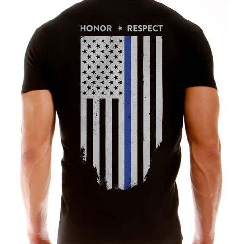 T-Shirt - Thin Blue Line Flag, Black