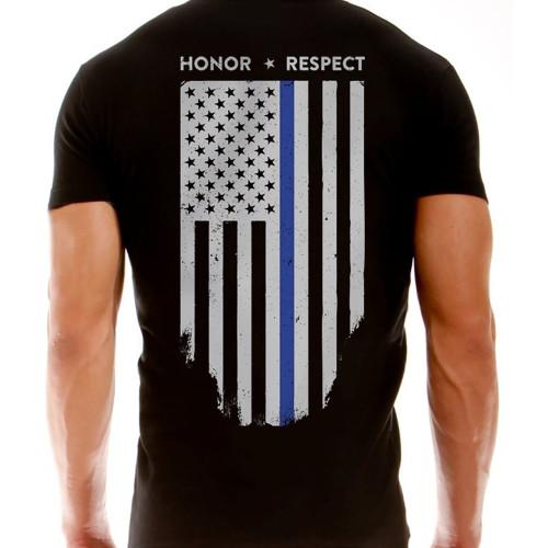 T-Shirt - Thin Blue Line Flag, Black