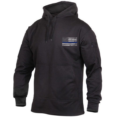 Thin Blue Line Concealed Carry Black Sweatshirt with Flag