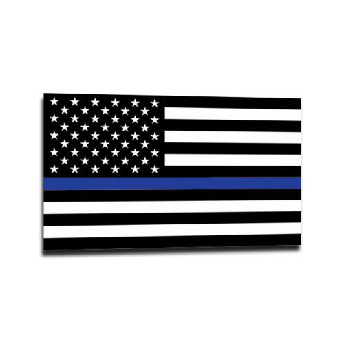 Thin Blue Line American Flag Sticker, 4x6.5 Inches