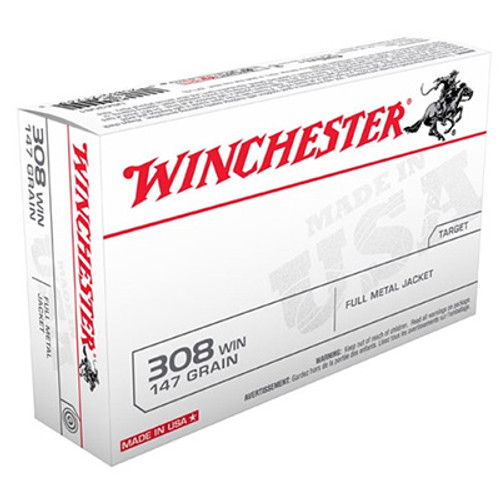 Winchester 308 Winchester 147GR FMJ BT Box of 20 - USA3081