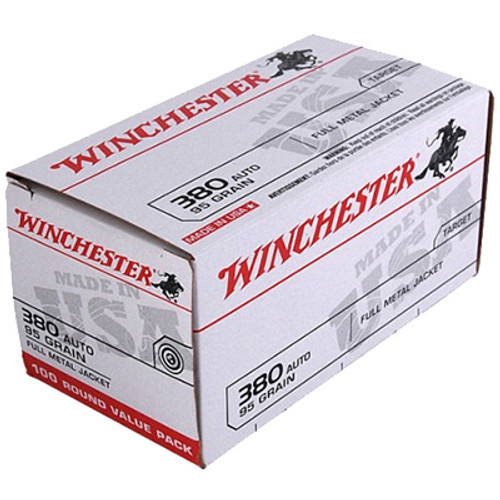 Winchester .380 ACP AUTO 95GR Full Metal Jacket Box of 100 - USA380VP