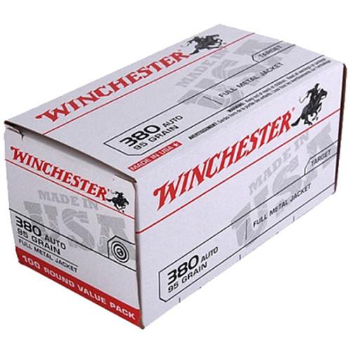 Winchester .380 ACP AUTO 95GR Full Metal Jacket Box of 100 - USA380VP