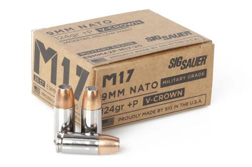Sig Sauer GF7-VCR-9MM-124 9mm NATO +P 124 gr JHP V-Crown M17 Military Grade Ammo