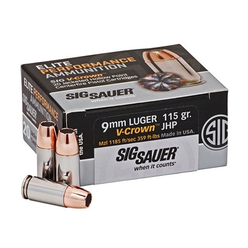 Sig Sauer GF7-VCR-9MM-115 Elite Performance 9mm Luger 115 Grain V-Crown JHP Ammo