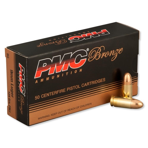 PMC 9G Bronze 9mm Luger Ammo 124 Grain FMJ Ammo