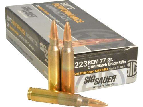 ig Sauer E223M1-20 Elite Performance Match Grade 223 Remington 77 Grain Open Tip Match Ammo