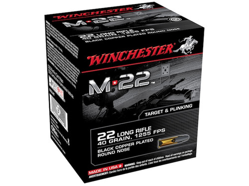 Winchester S22LRT M-22 Ammunition 22 Long Rifle 40 Grain Black Plated Lead Round Nose Ammo