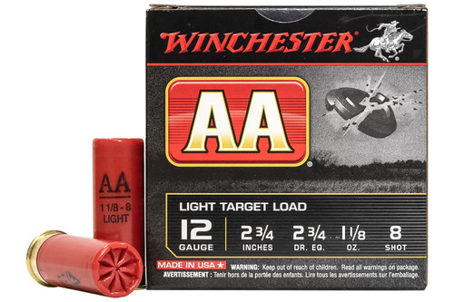 Winchester AA128 12 Gauge 2-3/4 in 1-1/8 oz 8-Shot AA Light Target Load Ammo