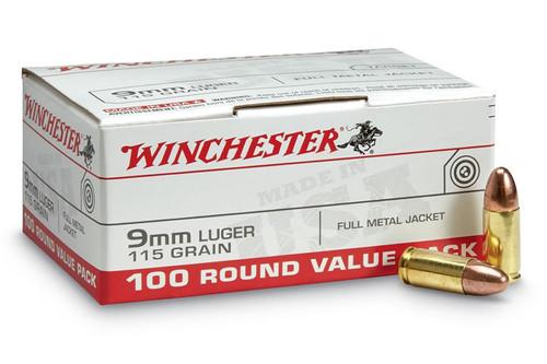 Winchester USA9MMVP 9mm 115gr FMJ Value Pack Ammo