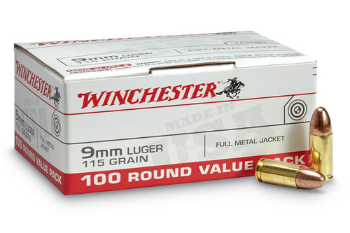 Winchester USA9MMVP 9mm 115gr FMJ Value Pack Ammo