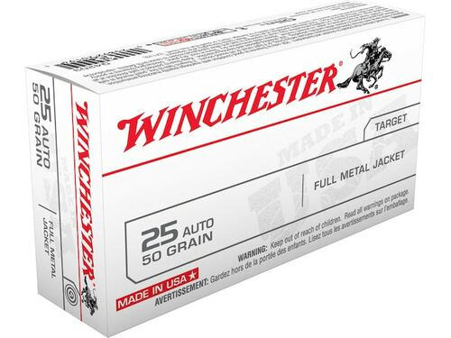 Winchester Q4203 25 ACP 50gr FMJ Ammo
