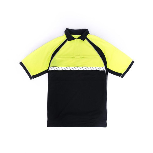 Blauer  8133 Colorblock Performance Polo- Dark Navy with Hi- Vis Yellow