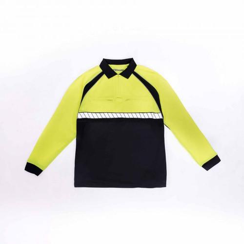 Blauer 8143 Colorblock Performance Polo Long Sleeve Shirt