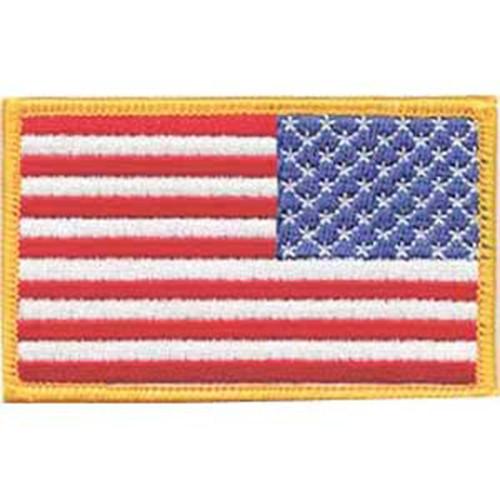Emblem Reversed Flag Patch w/Light Gold Border