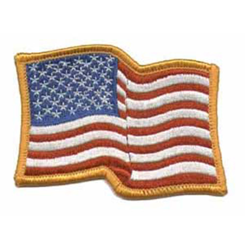 Emblem Wavy Flag Patch w/Gold Border