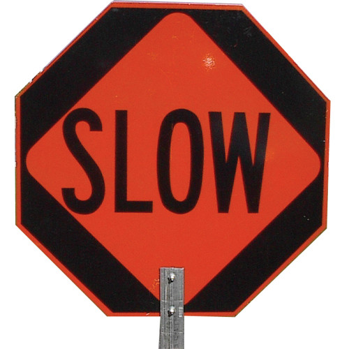 """Pro-Line Stop/Slow 18"""" Paddle Sign w/ Handle"""