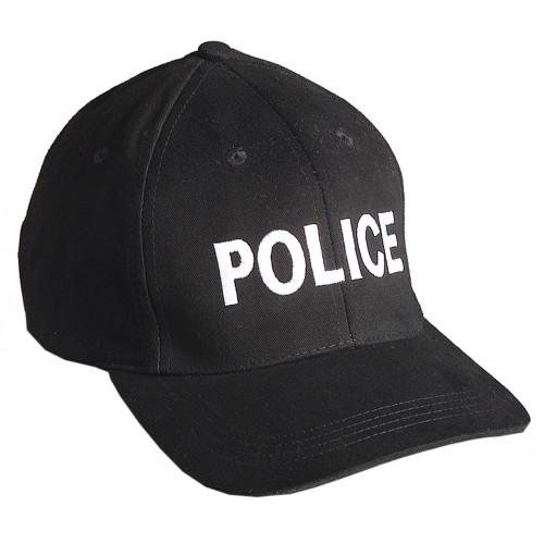 "Emblem Baseball Cap ""POLICE"" - Black w/White Embroidery"