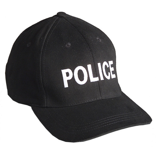 "Emblem Baseball Cap ""POLICE"" - Black w/White Embroidery"