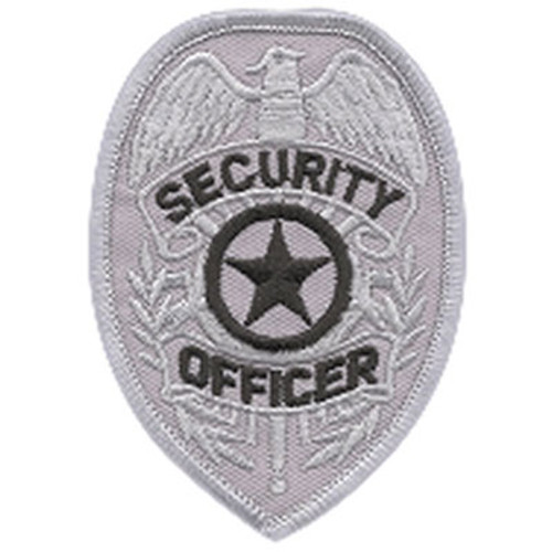 Premier Emblem Security Officer Badge Patch - Black/Silver
