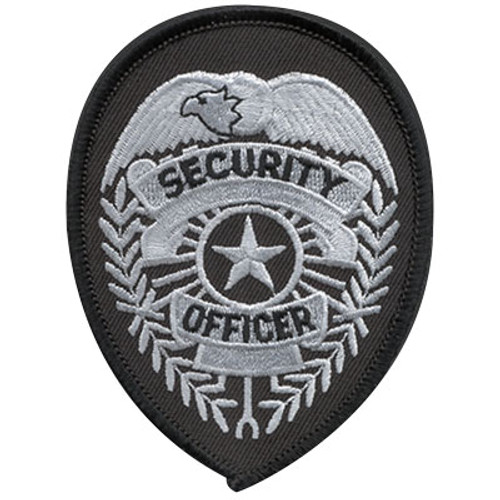 Premier Emblem Security Officer Badge Patch - Silver/Black