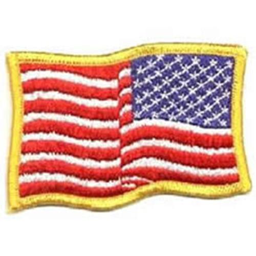 Emblem Wavy Flag - Reversed - Medium Gold Border