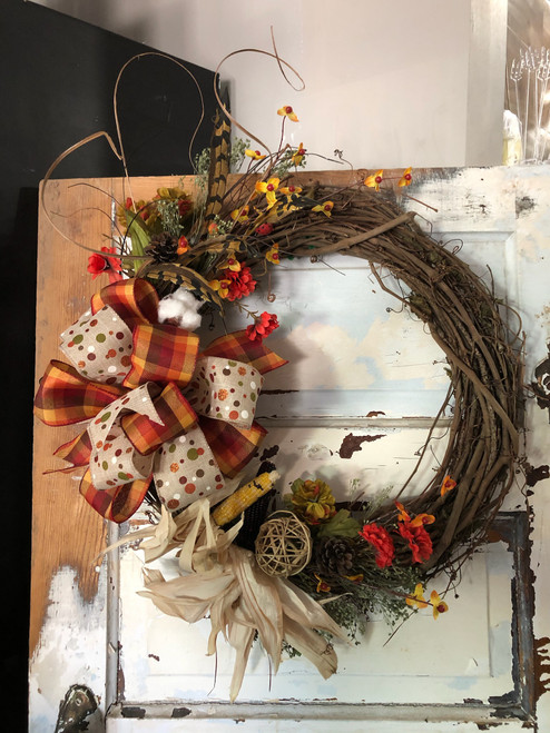 """Fall Wreaths Available now - lots of designs and themes.  Two sizes - 15"""" - Standard 18"""" - Deluxe.  Come in to see our selection, or put comments on your order and we will accomodate."""