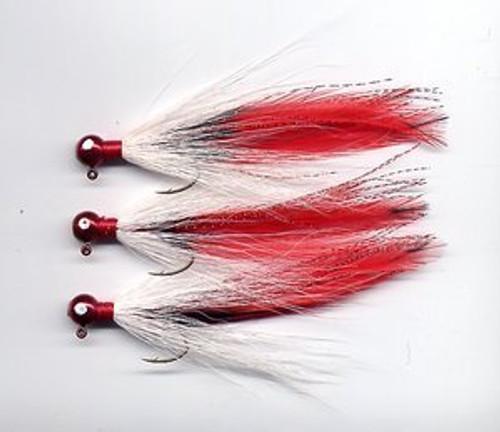 Round head bucktail deceiver jig - Red / White