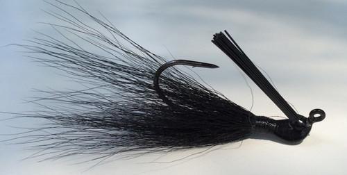 Black Jig. Bucktail hair jig.