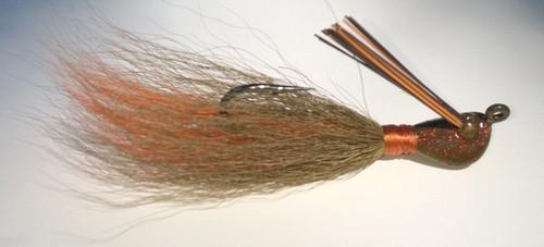 Crawfish jig. Crawdad jig. Olive/Orange jig. Bucktail hair jig.